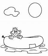 Raft Coloring Pages Summer Rafting Template River sketch template