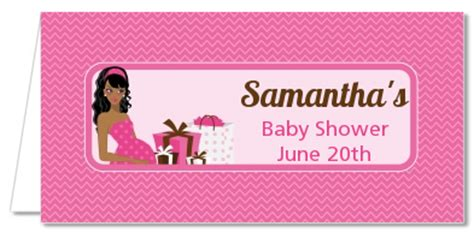 modern mommy crib   girl baby shower place cards