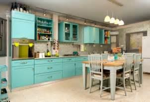 colorful kitchens ideas turquoise kitchen decor with turquoise kitchen island table decolover net