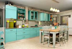 turquoise kitchen decor with turquoise kitchen island With kitchen cabinets lowes with orange and blue wall art