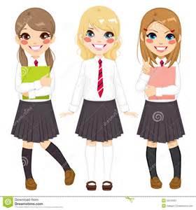 Cute Teenage Girls School Uniform