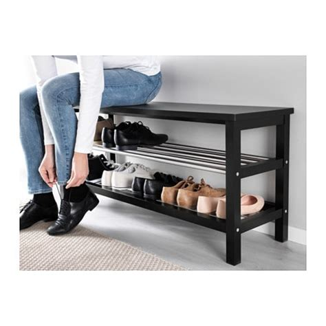 shoe bench ikea tjusig bench with shoe storage black 108x50 cm ikea