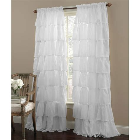 white shabby chic sheer ruffled 84 curtain panel