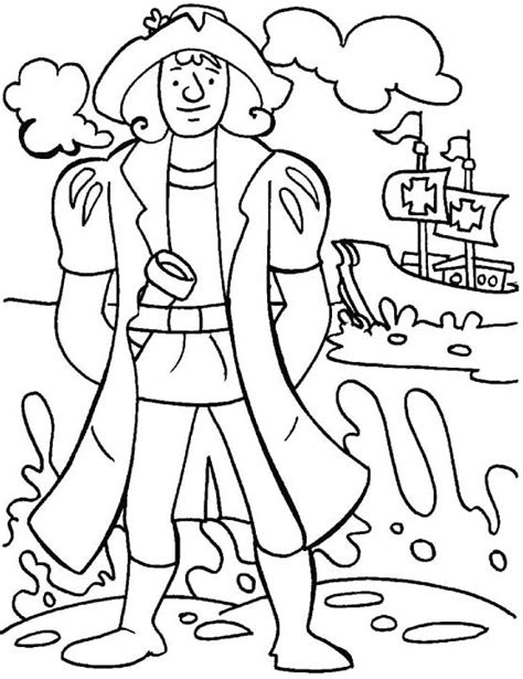 Christopher Columbus Coloring Pages Printable by Christopher Columbus Coloring Pages Sketch Coloring Page