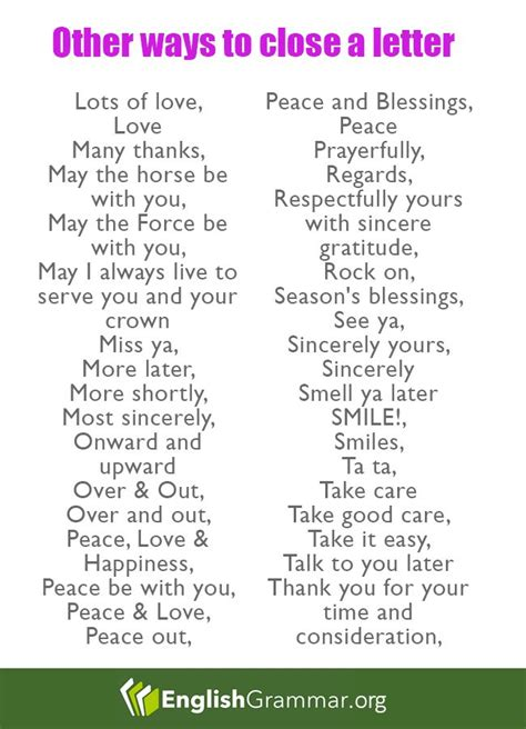 ways  close  letter writing english language