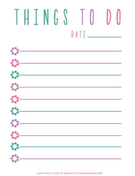Free To Do List Printable Beautiful Dawn Designs