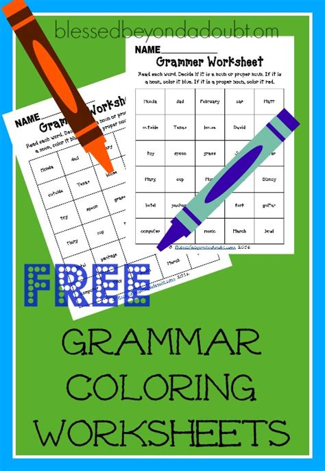 Free Grammar Color Worksheets  Blessed Beyond A Doubt