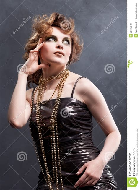 beauty woman in old fashioned dress stock photos image