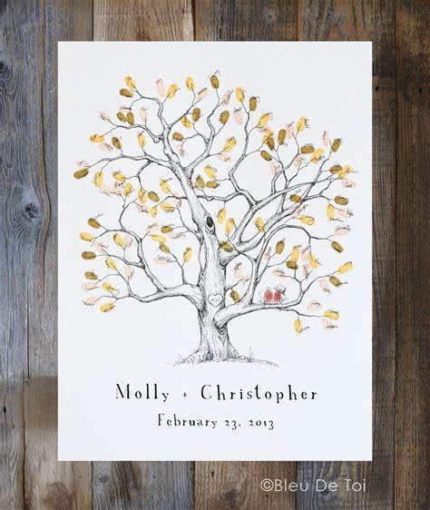 fingerprint tree wedding guest book alternative medium elm etsy