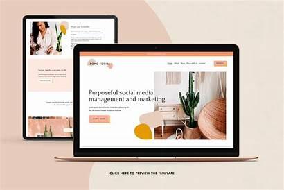 Squarespace Template Boho Social Templates Website Creativemarket