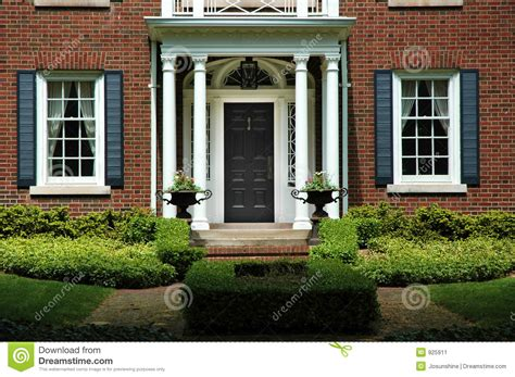 formal home entrance stock image image  brick house