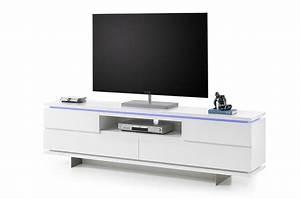 Pied Meuble Design : meuble tv design blanc laqu mat et pied m tal cbc meubles ~ Teatrodelosmanantiales.com Idées de Décoration