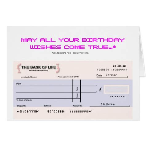 Birthday Cheque Template Blank Check Birthday Card Zazzle