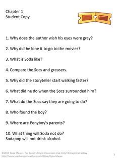 The Outsiders Notes Chapter 7 by Holes Literacy Unit Louis Sachar Comprehension And Student