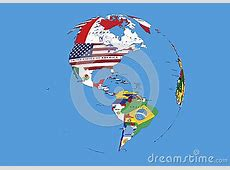 West Hemisphere North South America World Globe Flags Map
