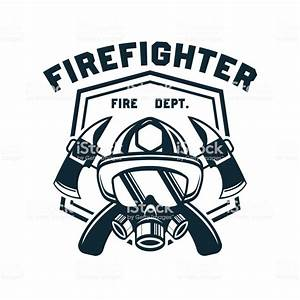 Firefighter Icon Emblems And Insignia With Text Space For