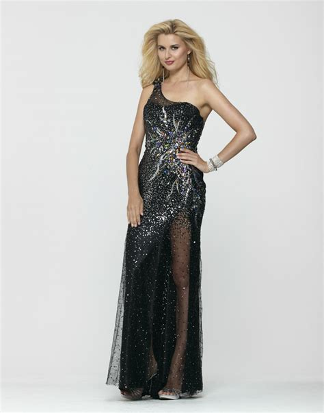 Clarisse 2013 Black Silver One Shoulder Long Sequin Beaded ...