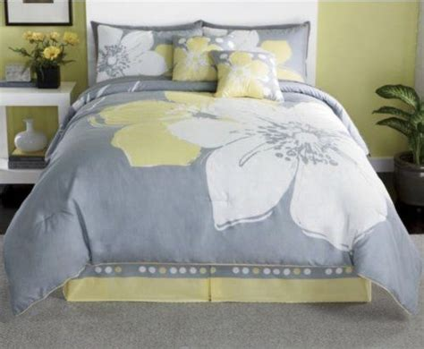 15 pieces marisol yellow grey white comforter bed in a bag