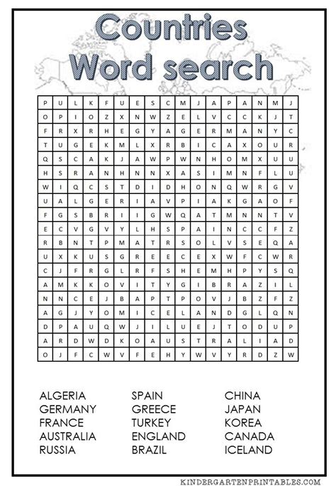 countries word search free printable free time word
