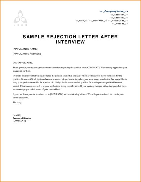 9 rejection letter sle writable calendar