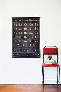 alphabet poster wall decor fabric black chalkboard alphabet With decorative fabric letters for walls