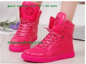 cheap mens Gucci Coda Neon Pink Leather High Top Sneaker 4
