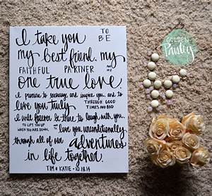 Hand lettered wedding vows on canvas black and white