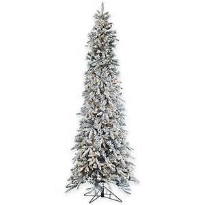 buy 9 foot narrow flocked barrington artificial pencil pine tree with 650 clear lights from bed