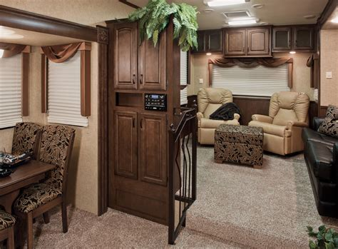 luxury fifth wheel rv front living room luxury fifth wheel rv kzrv designs tri level