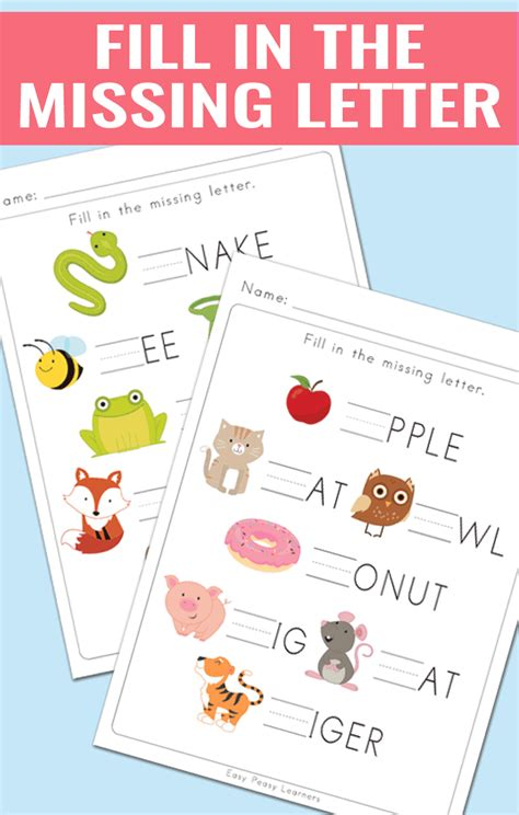 Fill In The Missing Letter Worksheets  Easy Peasy Learners