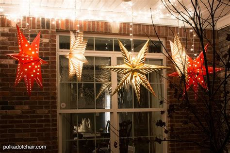 hanging star lanterns  christmas front porch decorating