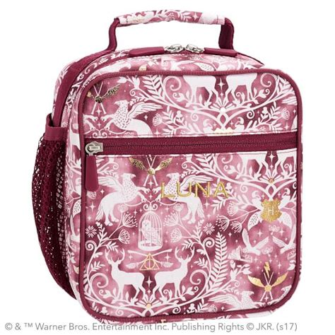 harry potter gear  magical damask classic lunch bag burgundy pbteen