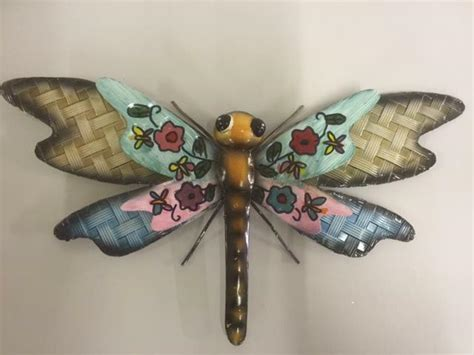 Pretty Metal Dragonfly Wall Art  Pink And Blue Garden