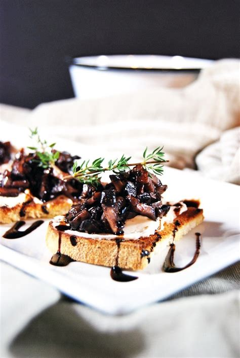 mushroom duxelle crostini  goat cheese  charming