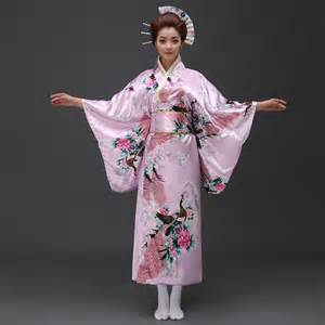 plus size tea length wedding dresses traditional pink silk japanese kimono for with peacock print idreammart