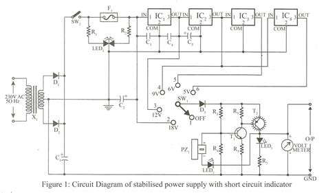 Stabilized Power Supply With Short Circuit Indication