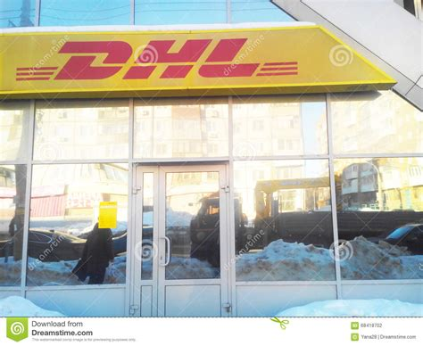 bureau dhl dhl office in the winter editorial photography