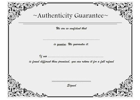 Certificate Of Authenticity Template Certificate Of Authenticity Template 8 The Best Template