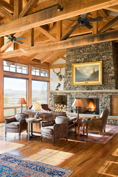 gas fireplace river rocks rustic luxury how to get this décor trend at home