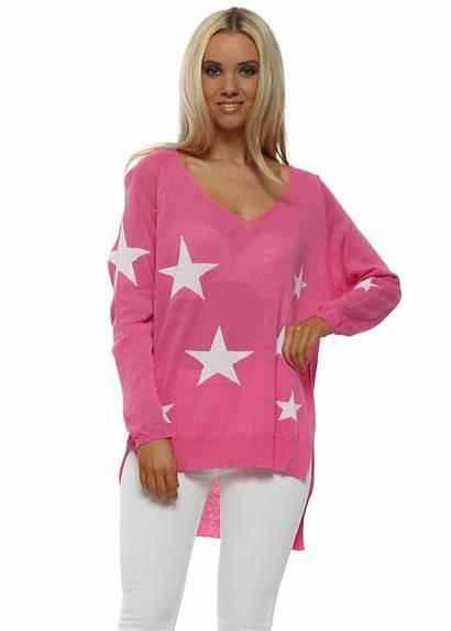 Pink Jumper Stars Knit Fine Pinka Slub