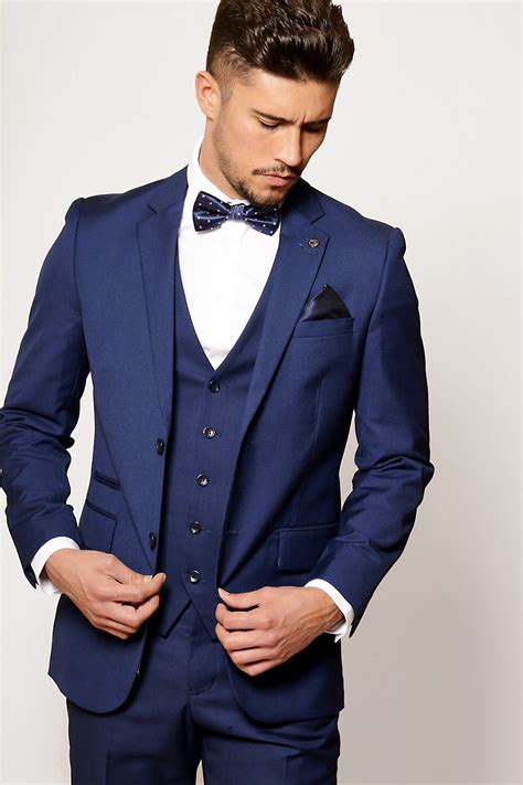 mens suit cobalt blue evening  piece suit