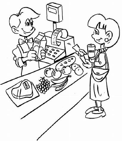 Coloring Grocery Pages Cashier Jobs Pokemon Children