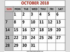 October 2018 Calendar PNG Templates Editable Free Download