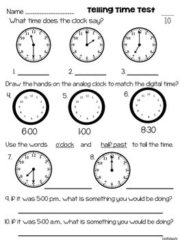 Telling Time Assessment by EandKeducate | Teachers Pay