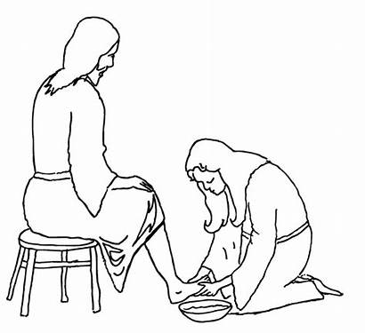 Jesus Feet Washing Mary Clipart Wash Coloring