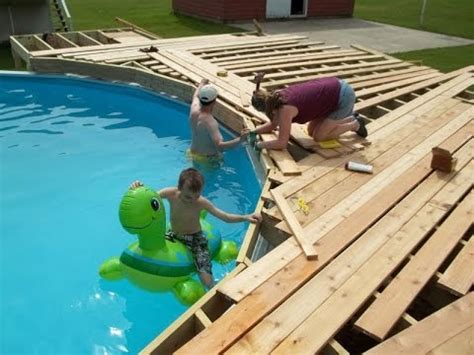 build  deck   ground pool youtube