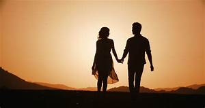 Love Story. In Love Couple Walking On Sunset Background ...