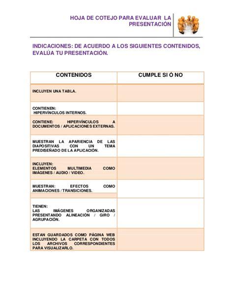 ejemplo de lista de cotejo hoja de cotejo presentaci 243 n