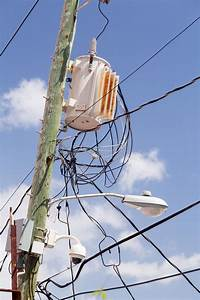 Jumble Of Wires On Power Pole Stock Image