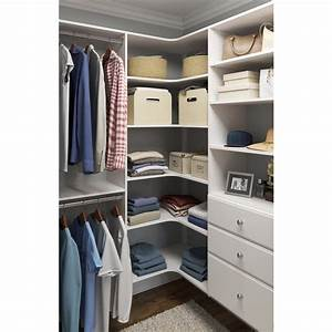 Closet Evolution 30 5 In  D X 30 5 In  W X 72 In  H Classic White Wood Corner Closet Kit